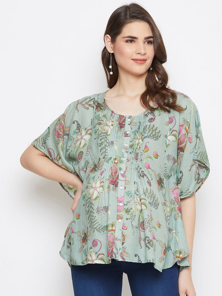 GREEN PRINTED MATERNITY KAFTAN TOP