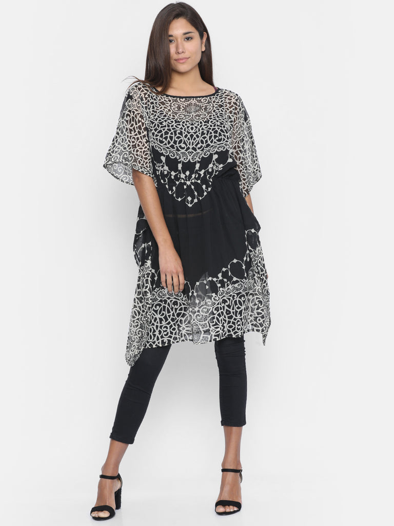 MONOCHROME FLORA KAFTAN TOP