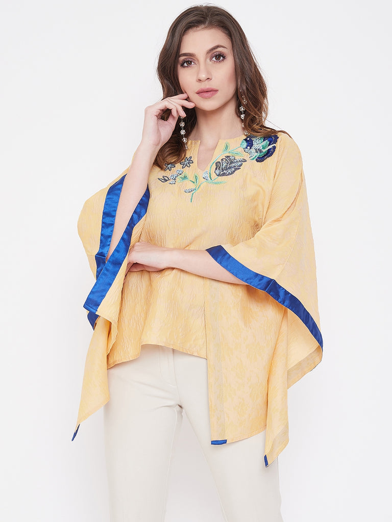 Aari Embroidery Yellow Popcorn Silk Kaftan