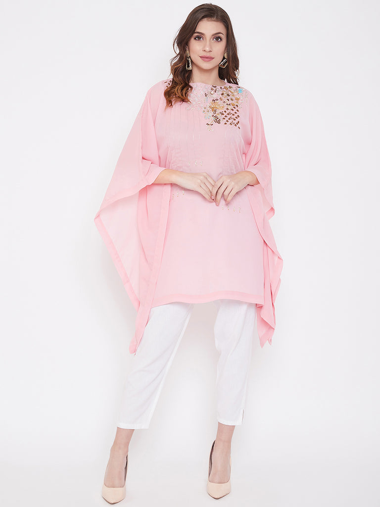 Party Pink Zari Embroidery Georgette Kaftan