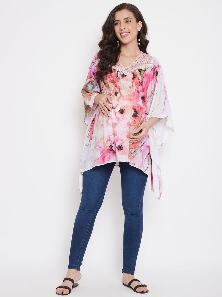 Floral Abstract Pink Maternity Top