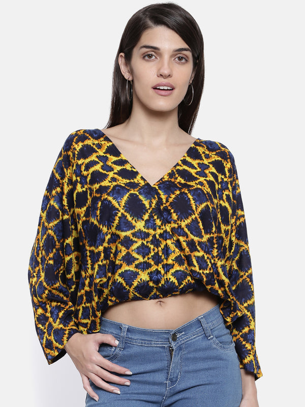 Infused Indigo Crop Blousson Top