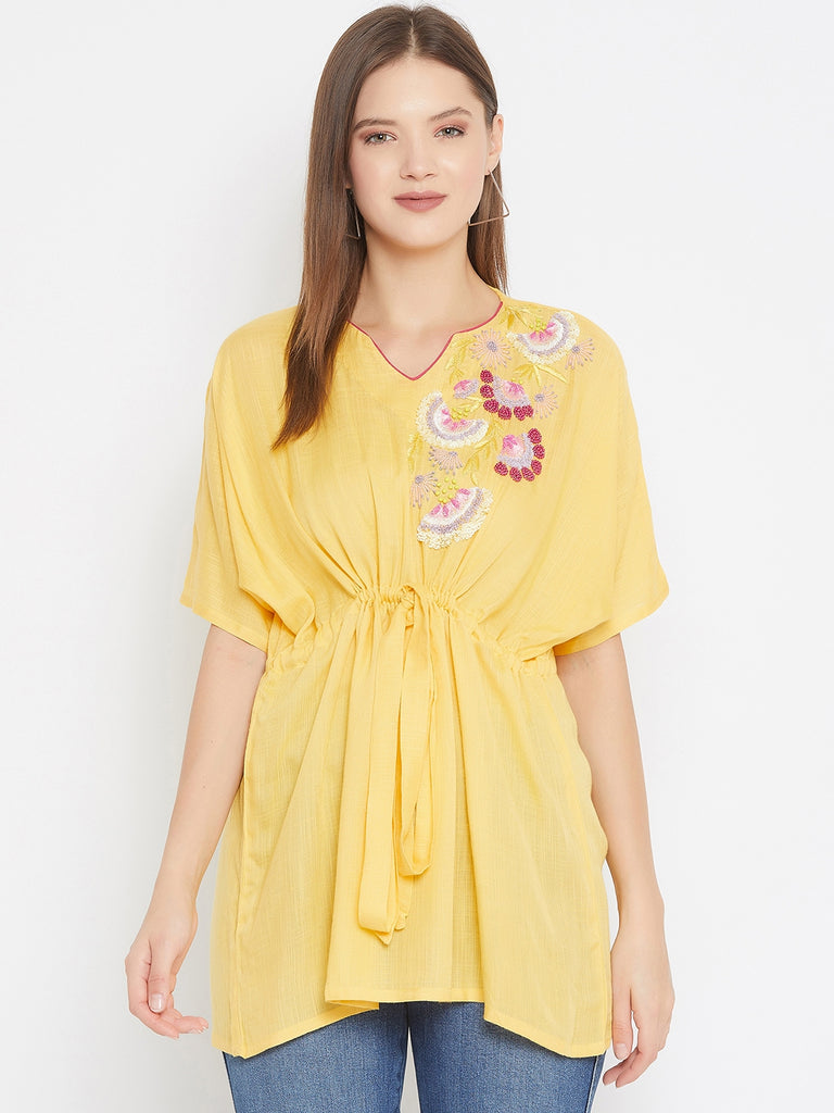 Yellow Kaftan Top With Sequin Embroidery Detail