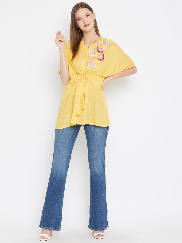 Solid Yellow Top with Sequin Hand Embroidery