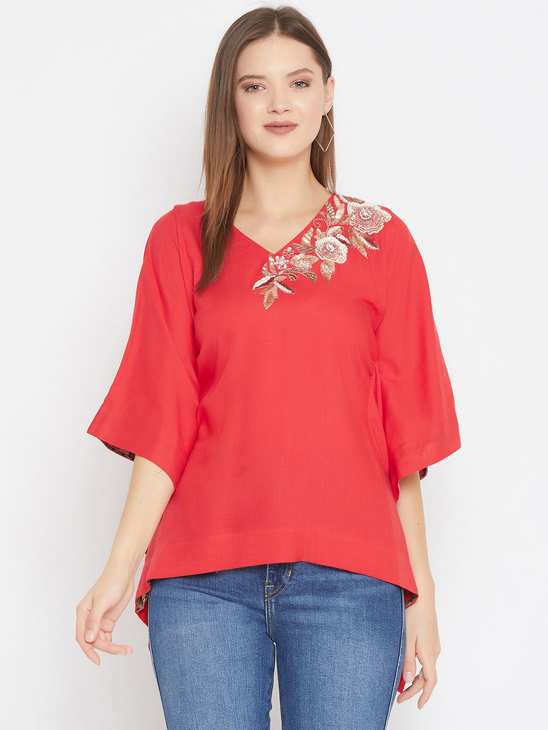 Red Kfatan Top With Asymmetric Embroidery Detail Along Neckline