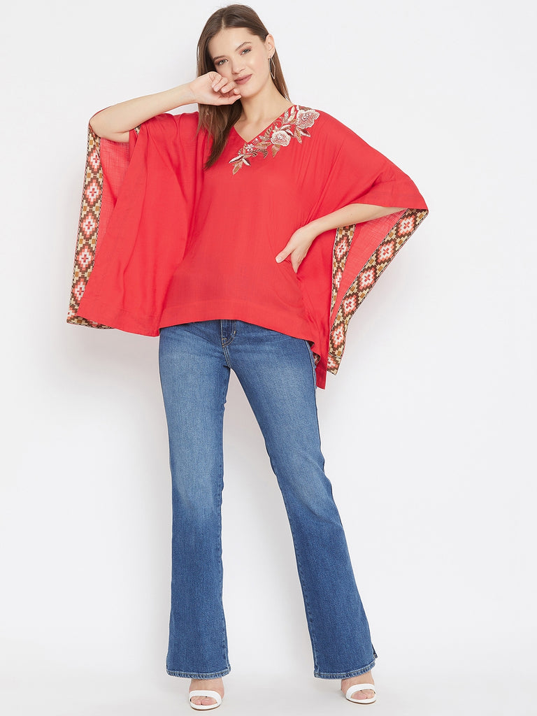 Solid Red Kaftan Top with Hand Embroidery