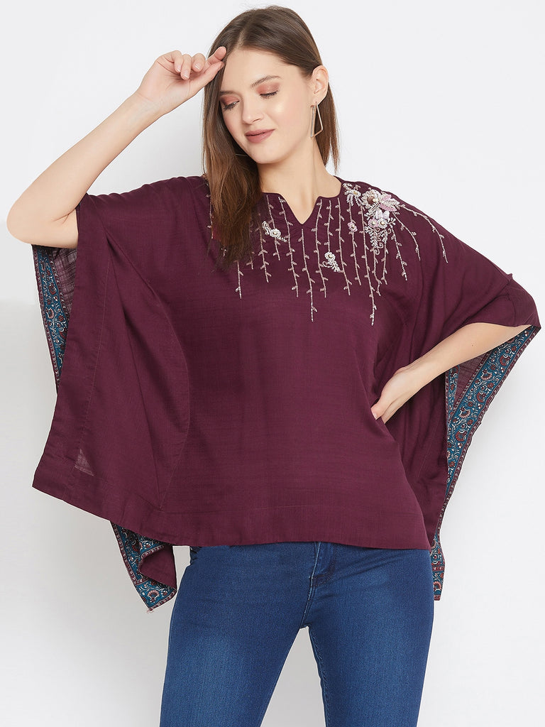 Wine Kaftan Top With Embroidery Detail