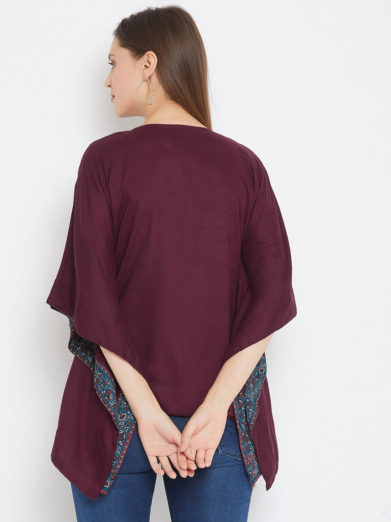 Solid Wine Kaftan Top with Hand Embroidery