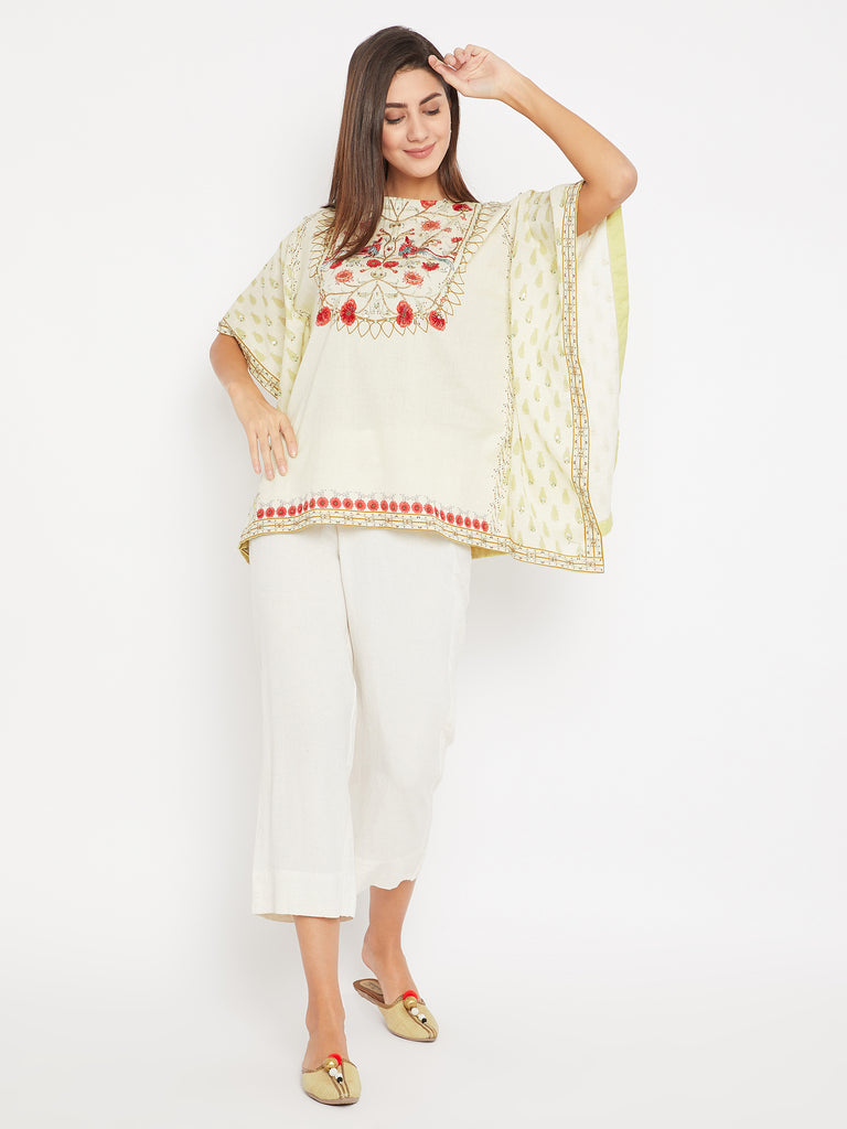Red and Gold Embroidery Kaftan Top