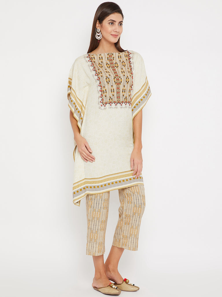 Off-White Embroidery Kaftan and Pant Set
