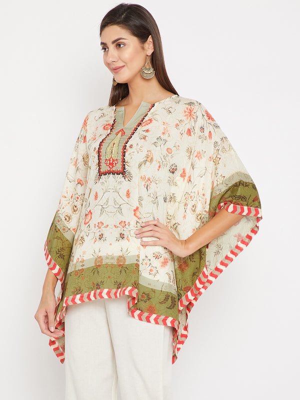 Off White Palampore Embroidery Kaftan