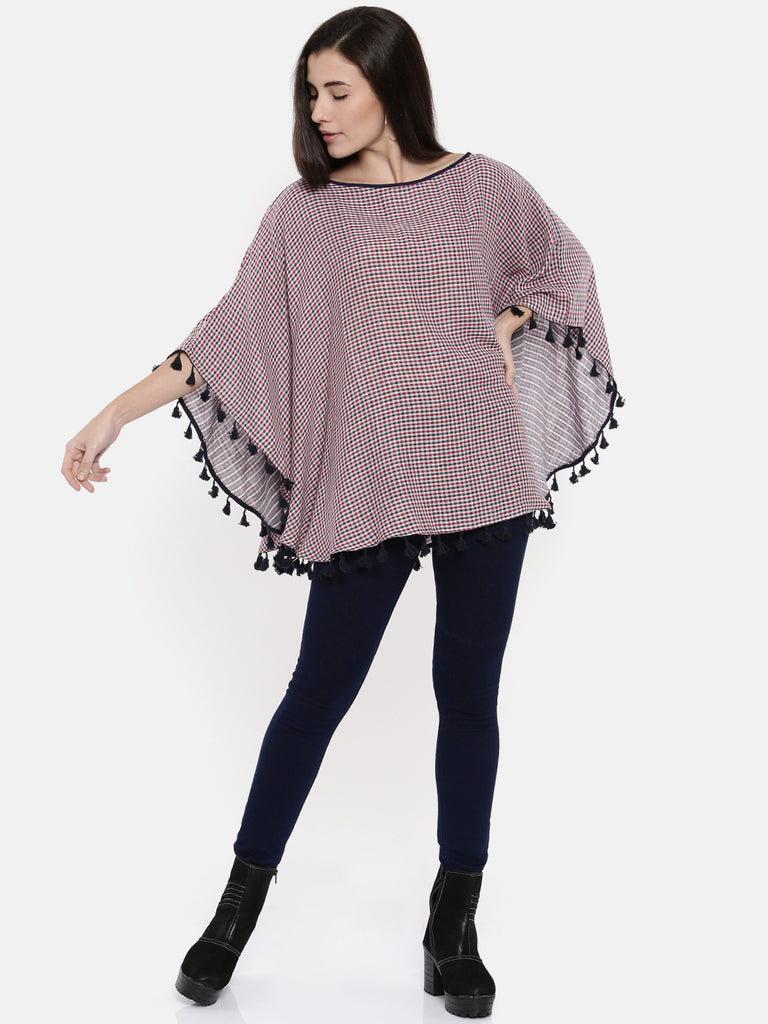 Checks and stripes Reversible Poncho