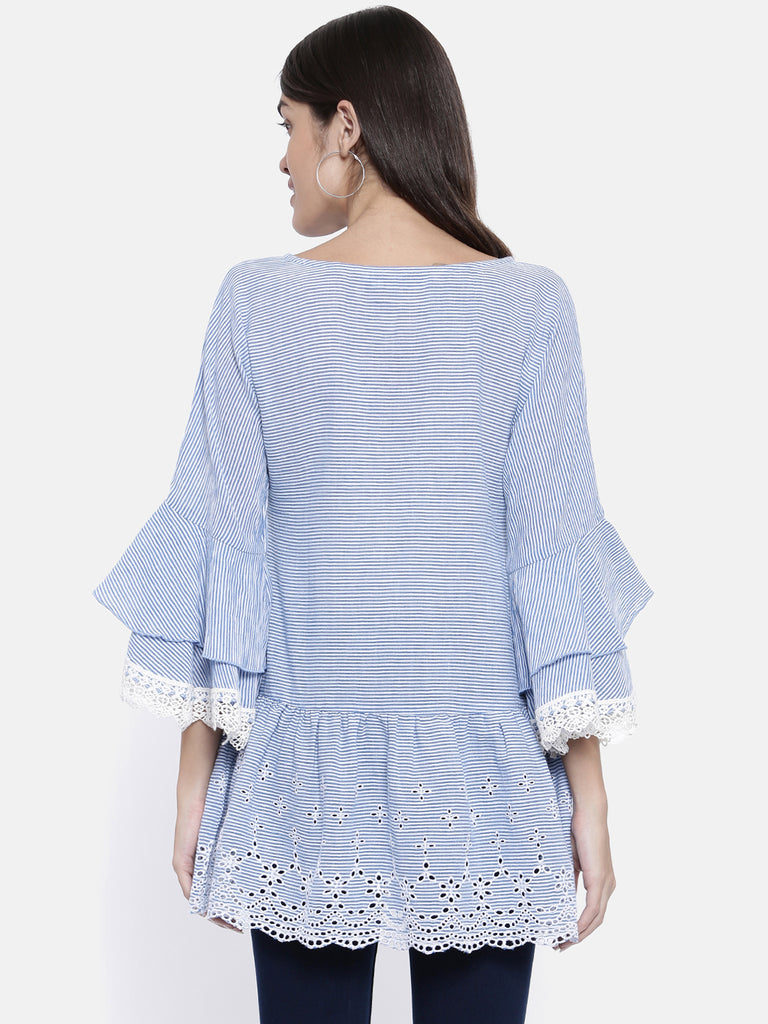 Stripy Azure Schiffli Top
