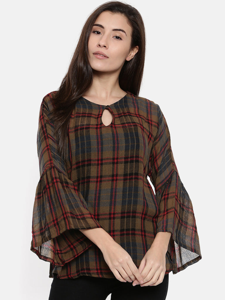 PREMIUM WOOL CHECKS TOP WITH RUFFLE SLEEVES