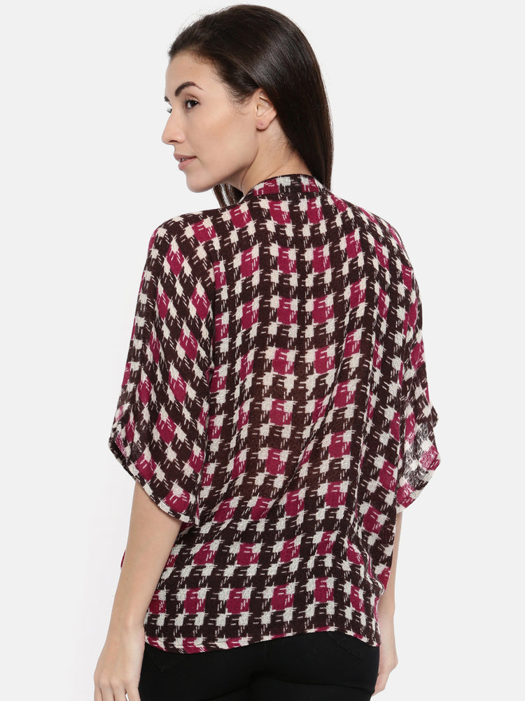 PREMIUM WOOL HOUNDSTOOTH PLACKET TOP