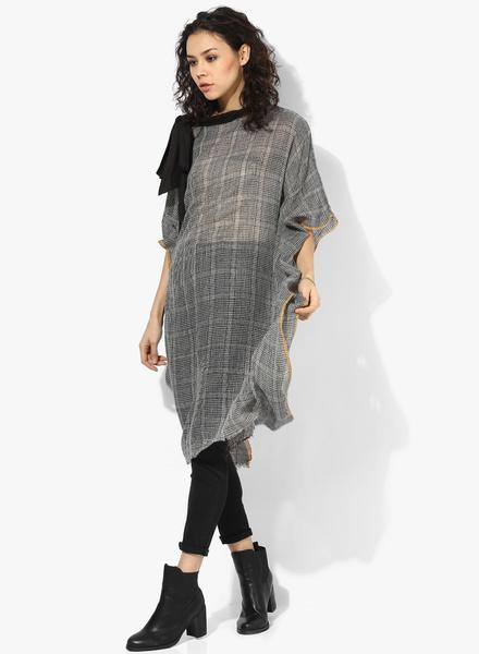 PREMIUM WOOL CHECKS  KAFTAN W/TIE UP NECK