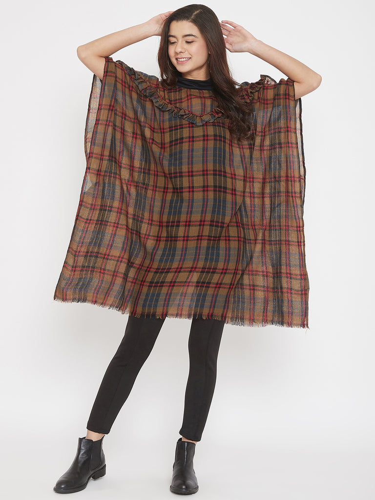 PREMIUM WOOL CHECKS  KAFTAN W/RUFFLES