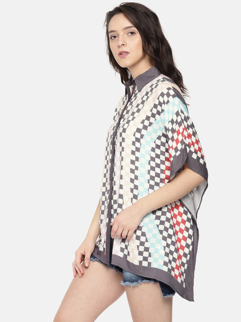 Multi-coloured Checked Cover-Up Dress