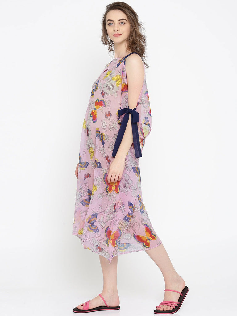 Pink Butterfly Kaftan Cover-Up