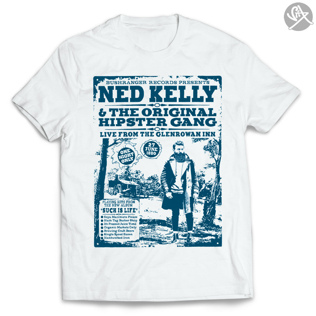 SAX TEES - NED KELLY'S HIPSTER GANG OUTLAW T Shirt by SAXTEES