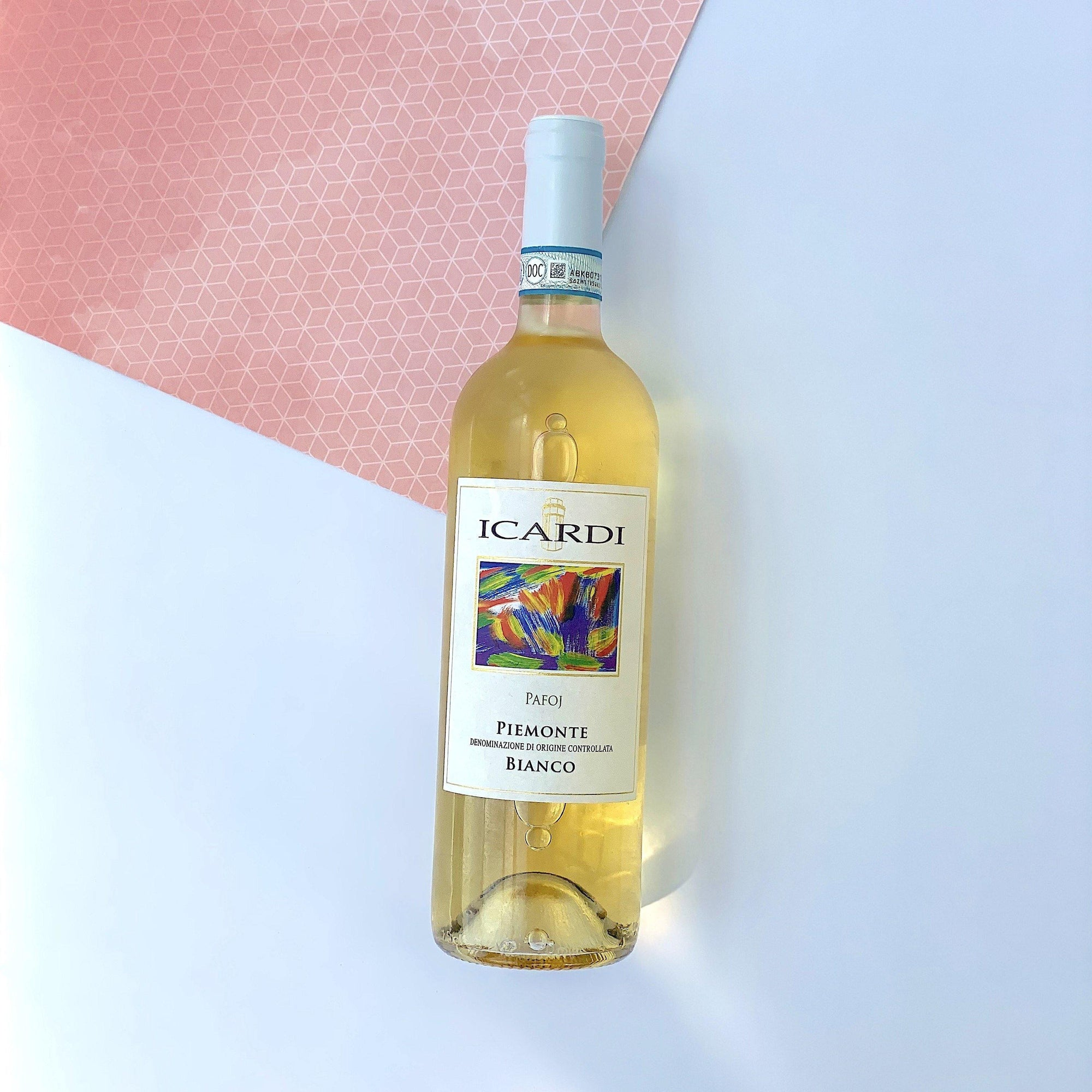 Pafoj Bianco. A rich white wine with a colorful label from Italy
