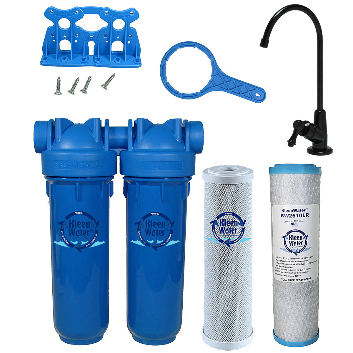 Drinking Water Filter, Lead Chloramine Chlorine Sediment, Black Faucet
