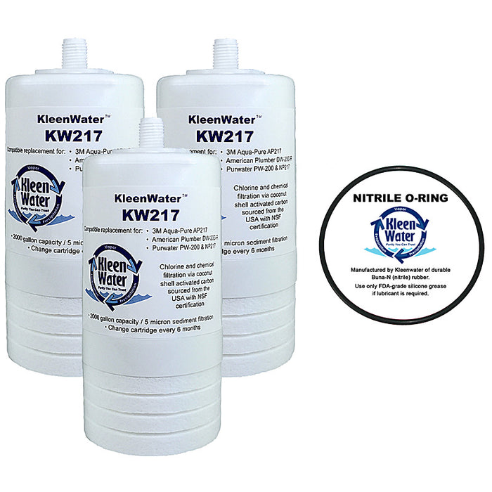 Three Aqua-Pure AP200 / AP217 Compatible Water Filters with one O-Ring