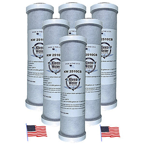 Six 2.5 x 10 Inch Carbon Block Replacement Water Filters