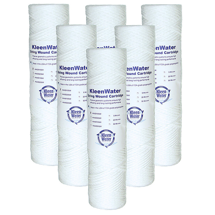 Six Culligan CW-F Compatible String Wound Filters - 2.5 x 10 Inch