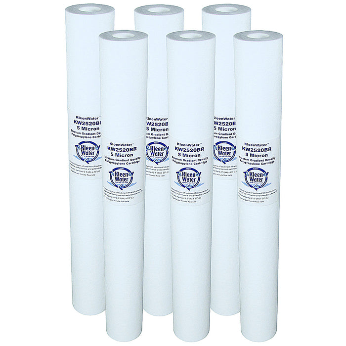 Six PX05-20 GE Compatible Water Filters - 2.5 x 20 Inch - 5 Micron