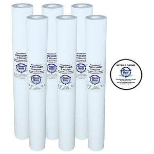 2.5 x 20 Inch 5 Micron Melt Blown Replacement Cartridges (6) and Oring