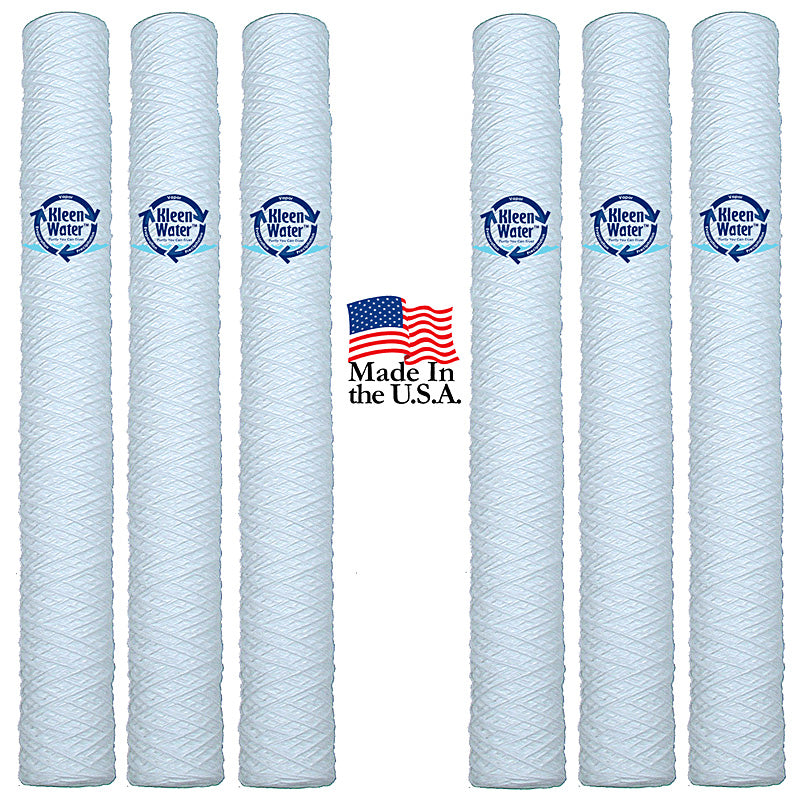 Six 2.5 x 20 String Wound Water Sediment Filter Cartridges