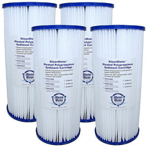Four 4.5 x 10 Inch Pleated Dirt/Sediment Water Filter Cartridges - Kleenwater