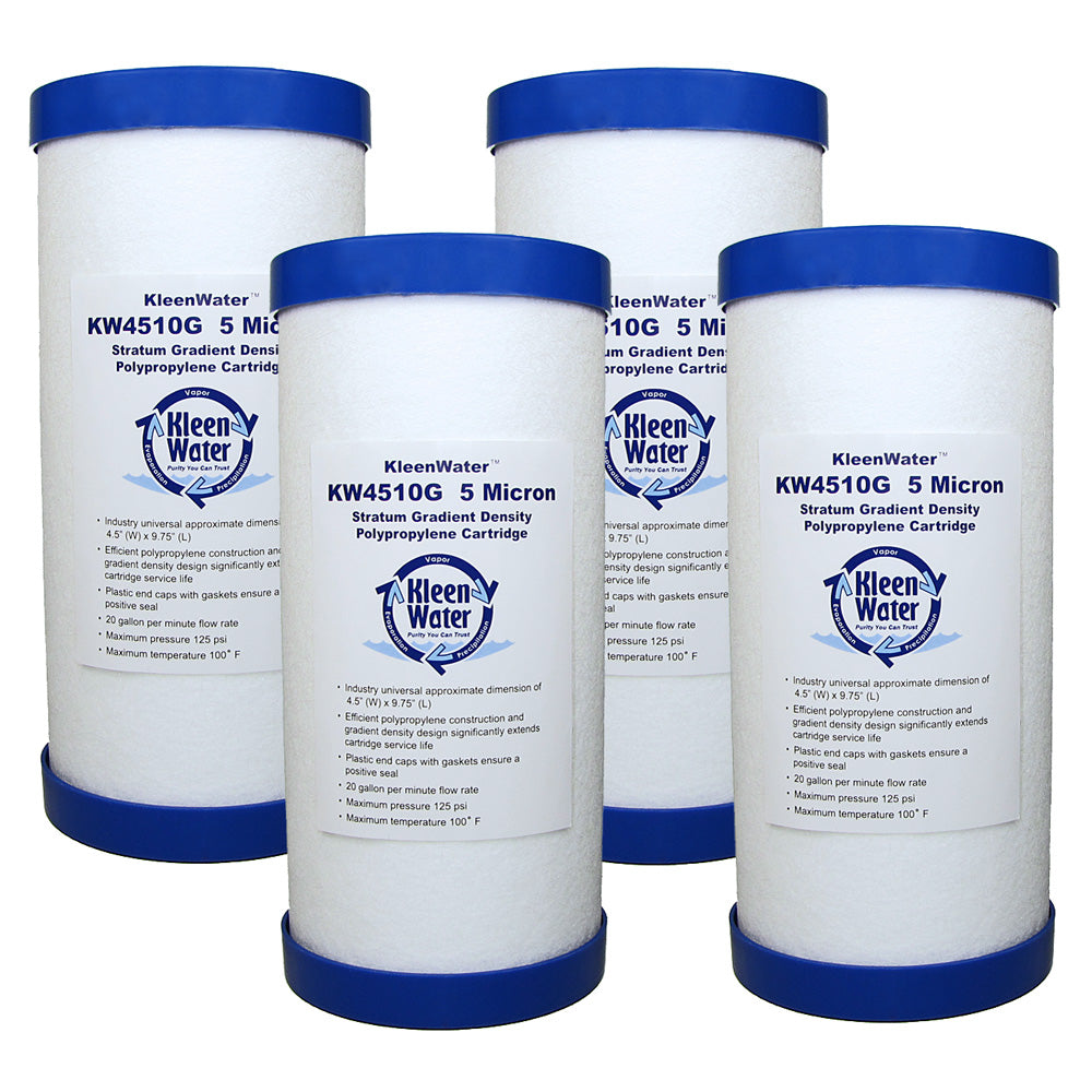 Four 4.5 x 10 Inch Melt Blown (5 Micron) Water Filter Cartridges - Kleenwater