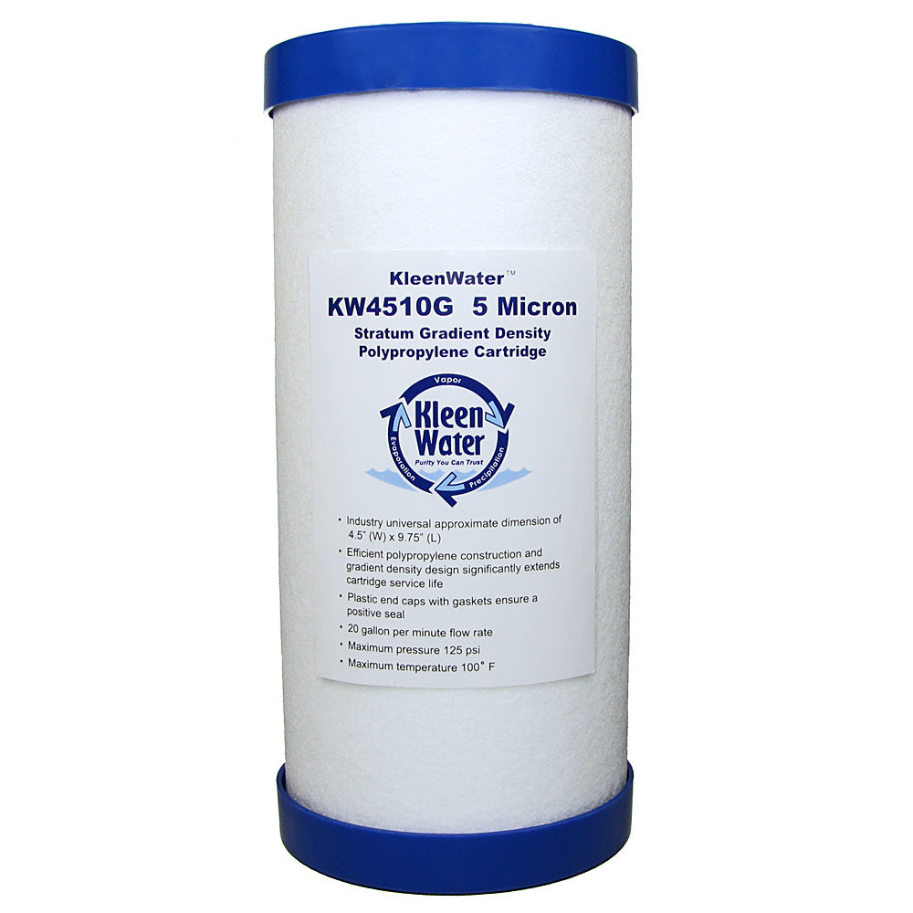 Dirt Rust Sediment Water Filter Cartridge 5 Micron 4.5 x 10 Inch - Kleenwater