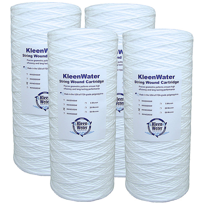 Four 4.5 x 10  Inch String Wound Dirt/Sediment Water Filter Cartridges - Kleenwater