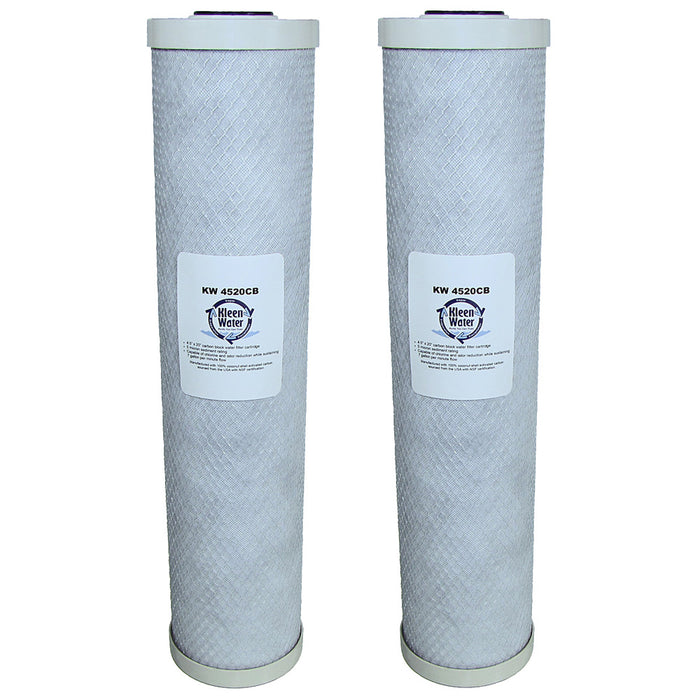Two Activated Carbon Block Water Filters - 4.5 x 20 Inch by KleenWater