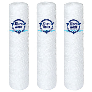 Three String Wound Water Filter Cartridges - 4.5 x 20 Inch