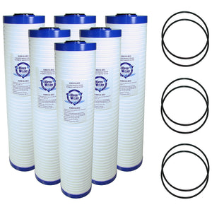 Six KleenWater 4.5 x 20 Inch Replacement Cartridges with 6 O-rings