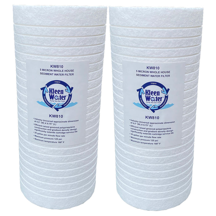 Dirt Rust Sediment Filter with Polyphosphate, 4.5 x 9.75 Inch, 2 Pack