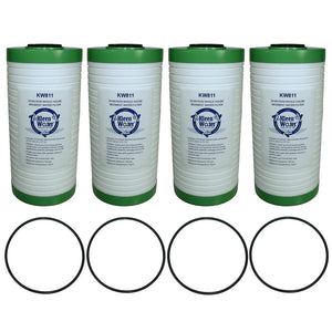 Four KW811 Water Filter Cartridges, 25 Micron, with 4 O-rings