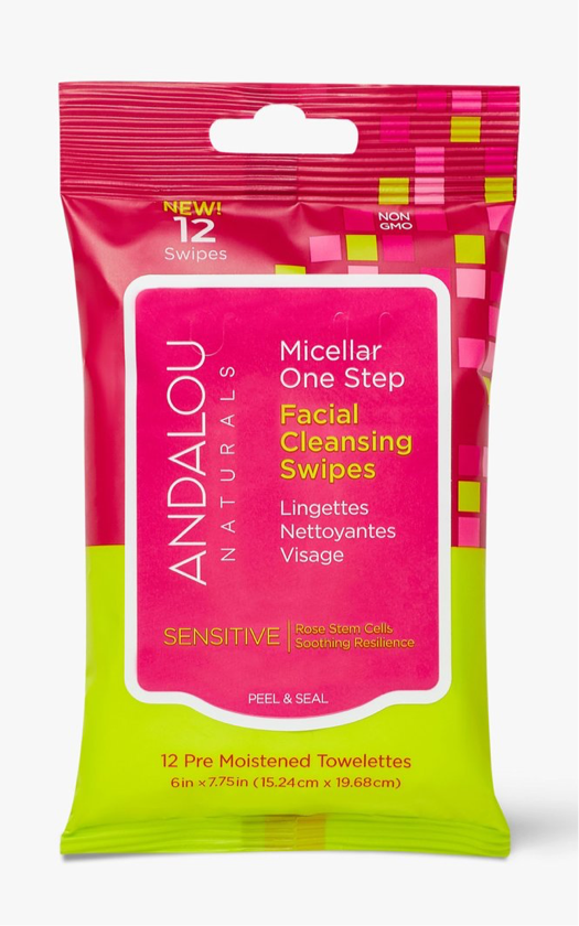 Andalou Naturals Micellar One Step Facial Cleansing Swipes Sensitive