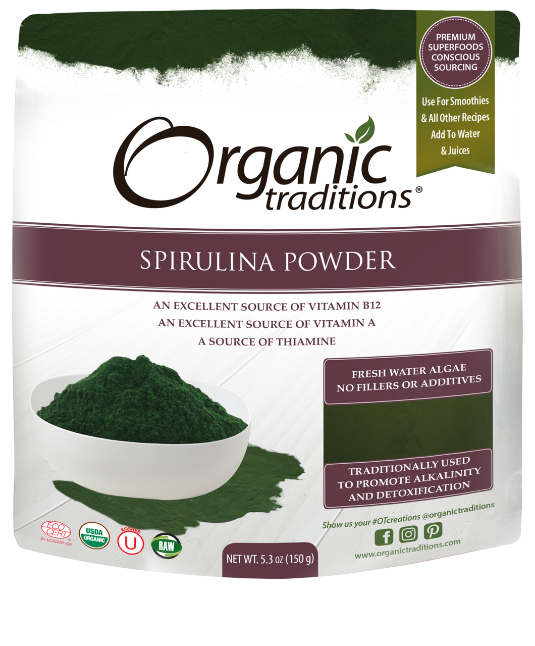 Organanic Traditions Spirulina Powder