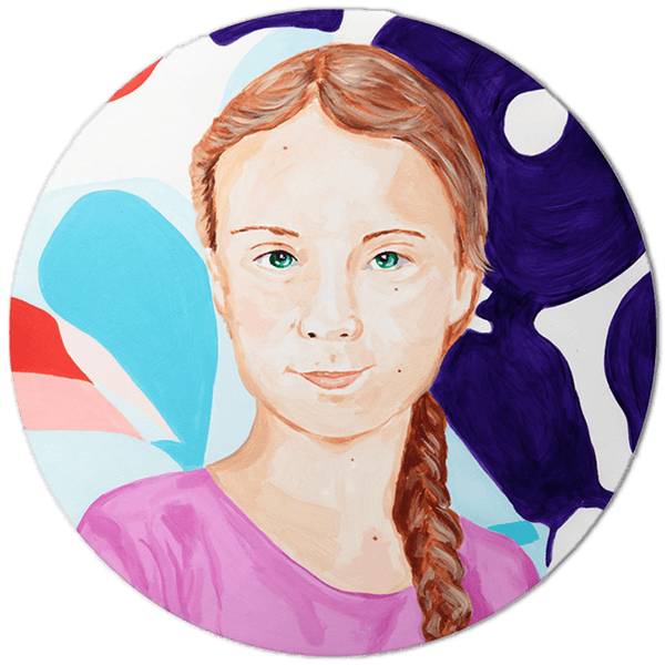 "Iconic Women 12"" Round Greta Thunberg #4"