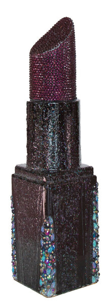 Black and Aubergine Angle Tip Bejeweled Lipstick Sculpture (#10 of 11)