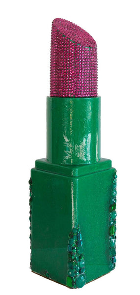 Pink and Green Cascading Jewels Angle Tip Lipstick Sculpture(#7 of 11)