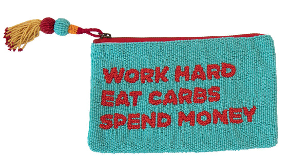 WORK HARD EAT CARBS BEADED BAG
