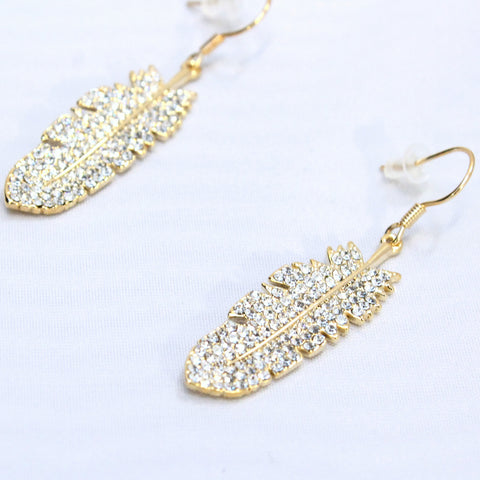 Mao - Feather style gold plated and crystal earrings