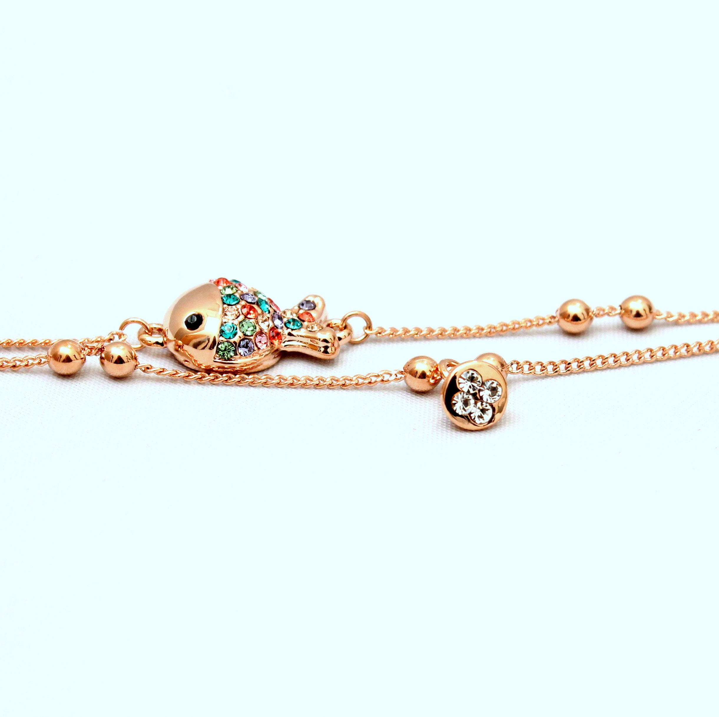 Discus - Rose gold plated with crystals