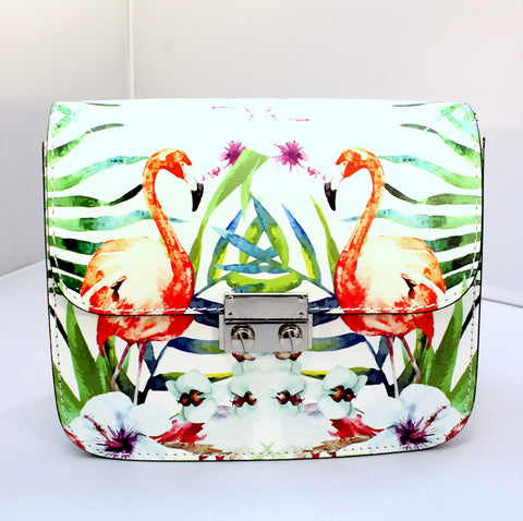 Callie - Leather bag with flamingo art design